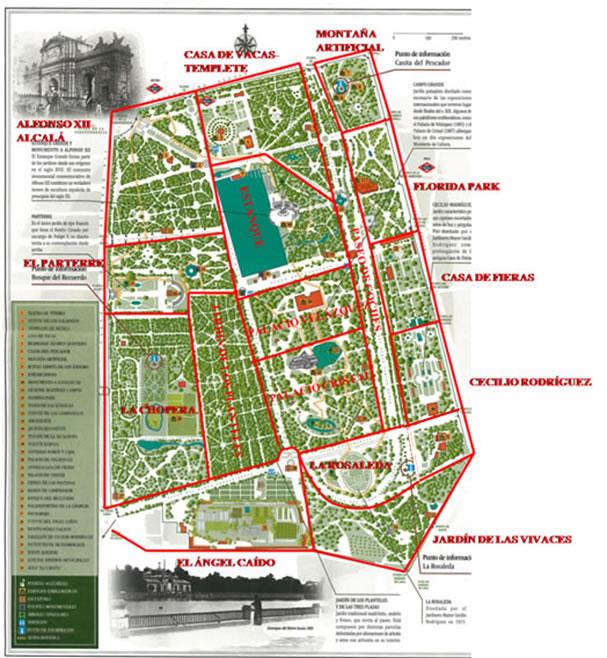 Mapa Parque Del Retiro.Plano Del Parque Del Retiro De Madrid